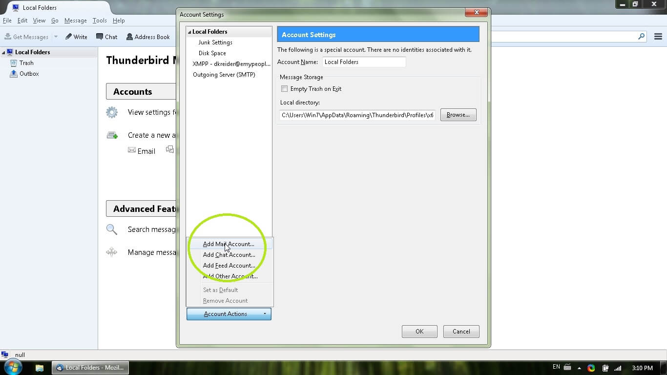 how to set up optusnet email in thunderbird