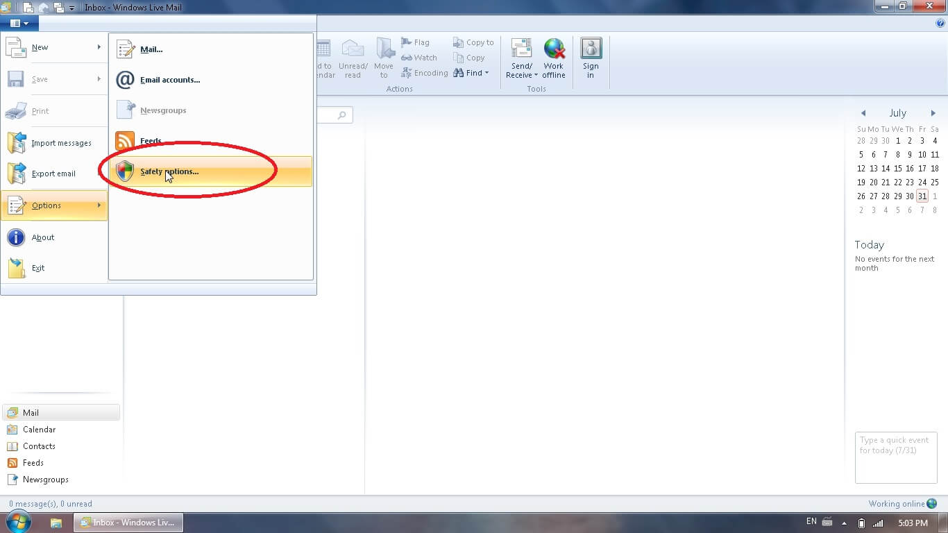 how to allow yahoo mail on windows live mail